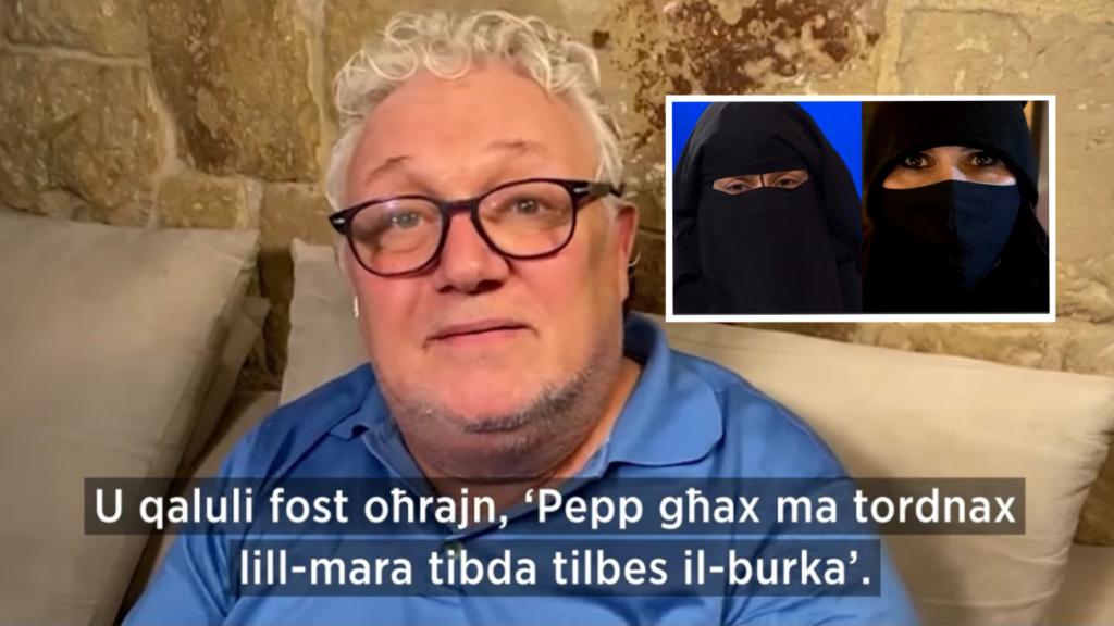 """Filmat: """"Kulħadd irid jilbes il-burka bilfors"""" – Peppi Azzopardi"""
