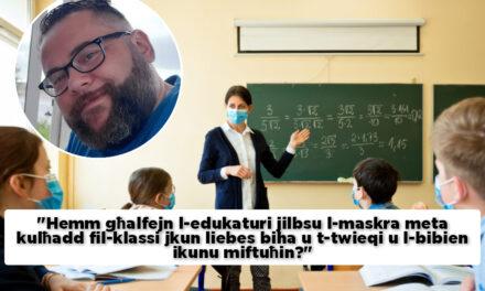 """""""L-użu tal-maskra fil-klassi qed joħloq sfidi għall-istudenti li jifhmu bil-lip reading"""" – Ivan De Battista"""